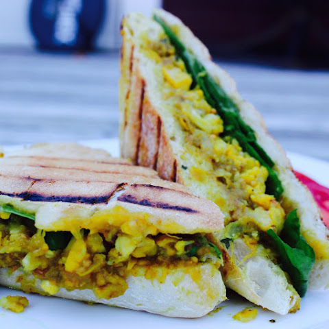 Spiced Chickpea, Mango Chutney and Cauliflower Curry Paninis