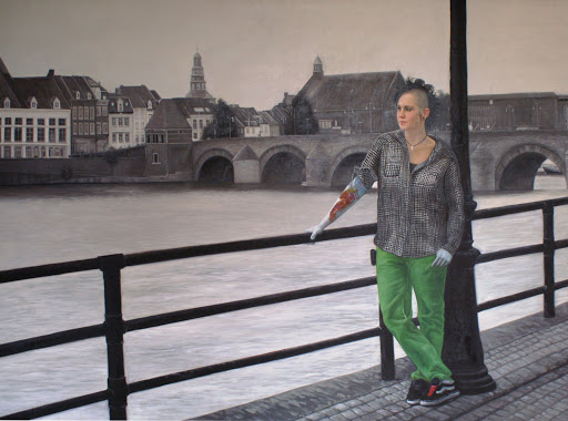 People Colour a City (Maastricht) - Olieverf op Canvas - 90 x 120 cm