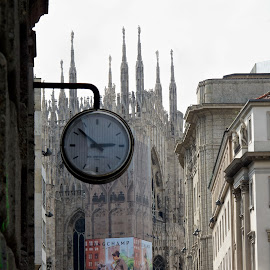 Milan, Lombardy, Italy by Serguei Ouklonski - Buildings & Architecture Public & Historical ( city, church, tourism, famous place, building exterior, building, analog clock, street, timepiece, europe, architecture, tower, sky, no person, gothic, town, built structure, old, streetview architecture, clock, urban scene, outdoors, urban, time, travel )
