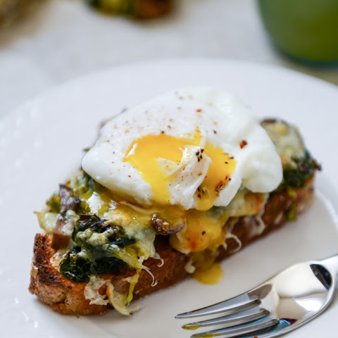 Broiled Fontina Veg Toasts with Roasted Garlic and Poached Eggs