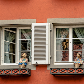 Two windows by Jesus Giraldo - Buildings & Architecture Other Exteriors ( love, concept, red, facade, colors, art, friendship, summer, children, windows )