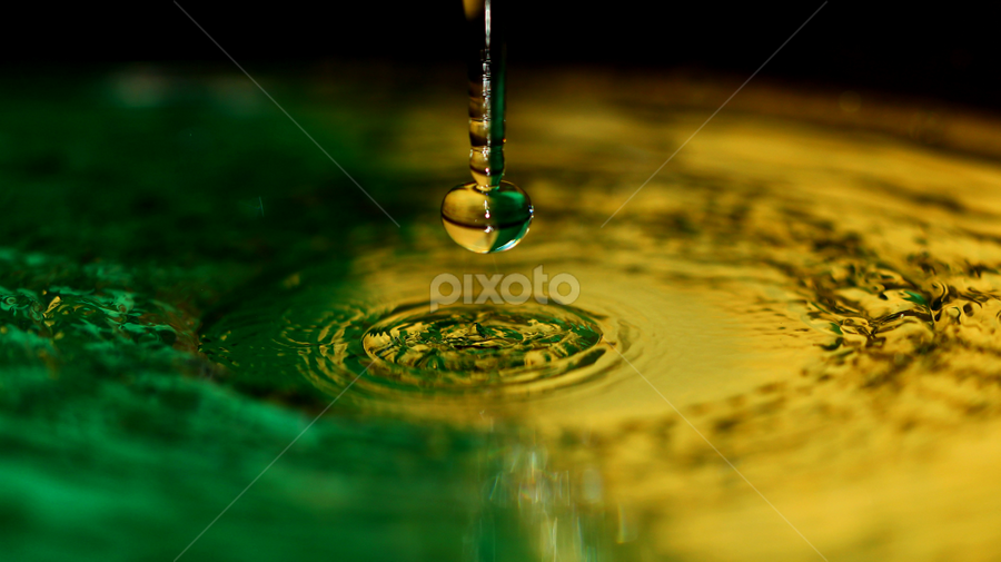 Water pendant. by Dipali S - Abstract Macro ( abstract, macro, heart, pendant, drop, green, yelow,  )
