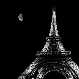 by Paul Scullion - Buildings & Architecture Statues & Monuments ( landmark, paris, eiffel tower, moon, black and white, night, france )