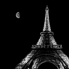 by Paul Scullion - Buildings & Architecture Statues & Monuments ( landmark, paris, eiffel tower, moon, black and white, night, france,  )