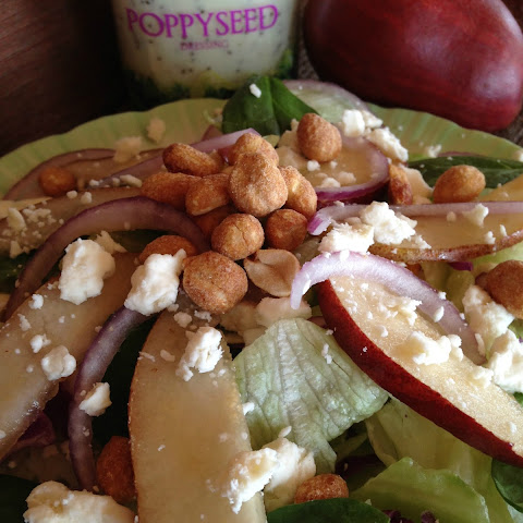 Mixed Green Salad with Pears, Feta and Peanuts