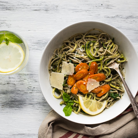 Carrot Top Pesto Pasta with Zucchini Noodles