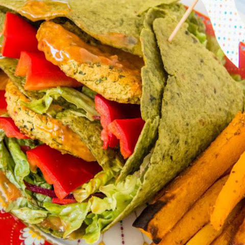 Red Lentil Burger Wraps With Pumpkin Fries [Vegan]