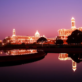 Blue-Hour Splendour of Republic Day in India by Sridhar Balasubramanian - Buildings & Architecture Public & Historical ( pwcarcreflections, south block, rashtrapati bhavan, north block, india, pwchallenge, republic day, night, lights )