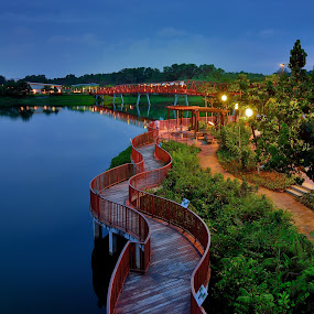 River Walk by Jimmy Chiau - City,  Street & Park  City Parks ( water, city parks, sunset, landscapes, river )