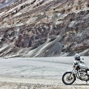 Royal Enfield at White Desert by Mangesh Jadhav - Transportation Motorcycles