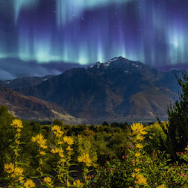 Wasatch Front by Brandon Montrone - Digital Art Places ( mountains, northern lights, art, digital art, fine art, landscapes, landscape, evening, composite )