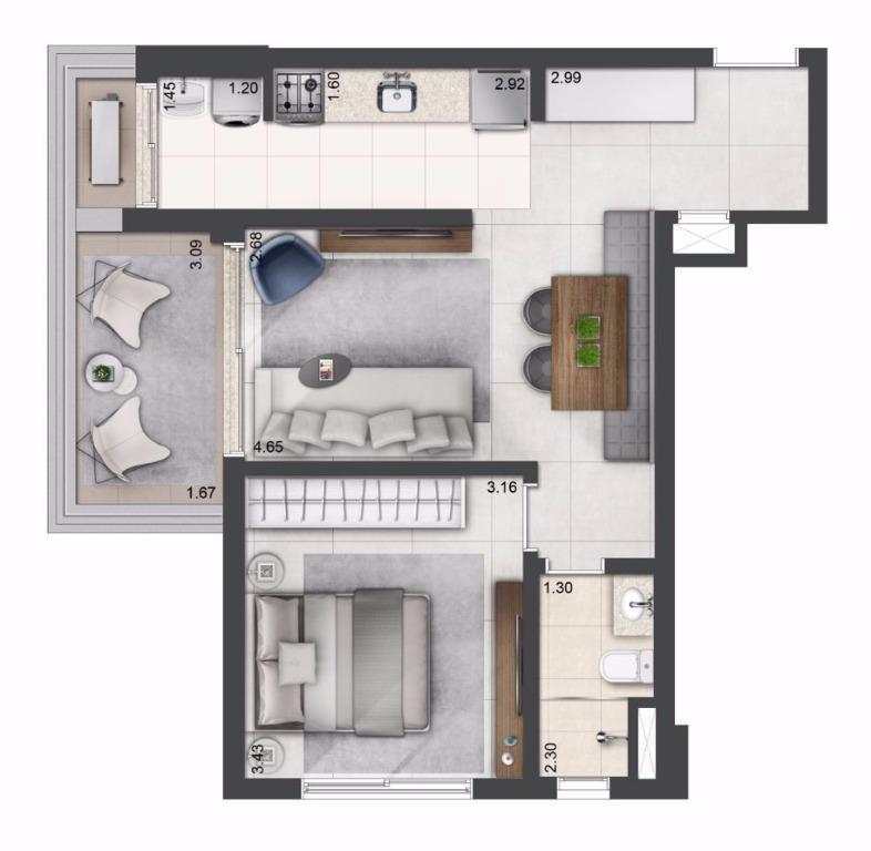 Planta Tipo - 56 m²