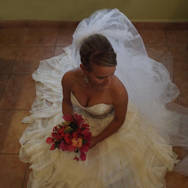 Beautiful Bride by Donna Chapman-Domitrek - Wedding Bride ( happy, contemplation, lady, lovely, bride )