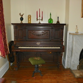 Piano and Bench by Sandy Stevens Krassinger - Artistic Objects Furniture ( piano, bench, sitting room, artistic objects, antique )