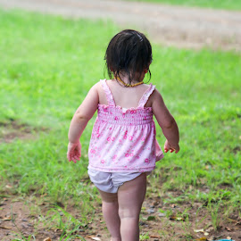 Out and about by Annemiek Wilson - Babies & Children Children Candids ( baby girl, childhood, natural light, back, playtime, child )