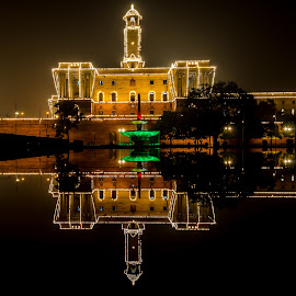 Reflection by Ankit Chauhan - City,  Street & Park  Fountains ( ankit, lights, chauhan, decoration, water · reflection · blue · decoration · blue hour · fountain · celebrations · yellow · republic day, momentinpixel, crazyrover, nikon, d5100, golden, photography )