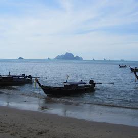 by Kristin McMullan - Transportation Boats ( boats, thailand, ocean, beach, krabi )