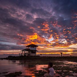 The Catch by Raffy Nadayag - Landscapes Sunsets & Sunrises ( water, seascape, sunrise, fishing, landscape, orange sky, kid )