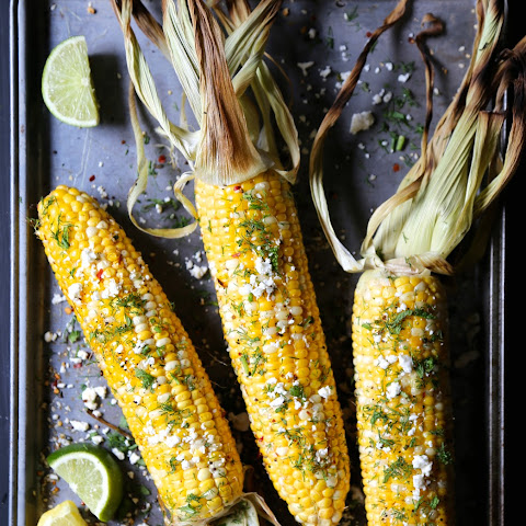 Grilled Shawarma Corn with Fresh Dill