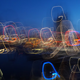 Rotterdam Harbour at dawn by Stéphane Cazenave - Abstract Light Painting ( lights, dawn, rotterdam, harbour )