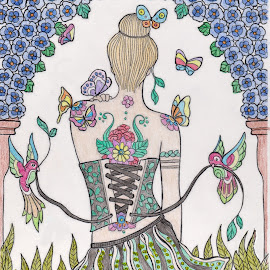 Sequined Skirt.... by Melanie Goins - Illustration People ( woman, parrots, tattoos, coloring, colorful )