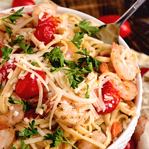 Grilled Shrimp & Tomato Pasta