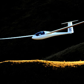 The crossing by Geoff Soper - Transportation Other ( contrast, mountains, sunset, sailplane, glider, new zealand, soaring, gliding )