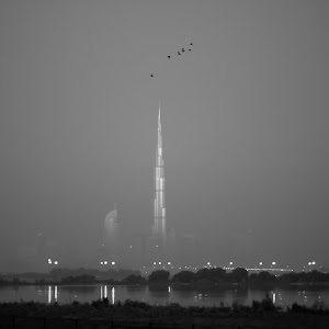 20130124-~Burj Khalifa with birds (foggy morning) 2.jpg