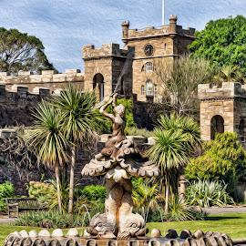 The fountain by Stephen Crawford - Digital Art Places ( water, arches, fountain, culzean, gardens, trees, historic, onuments,  )