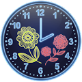 Neon Flowers Analog Clock APK for Kindle Fire