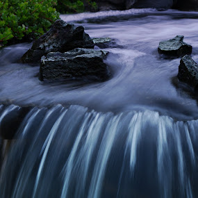 Smooth waterfall  by Jennifer Holmes - Nature Up Close Water ( water, moving, nature, waterfall, rocks )