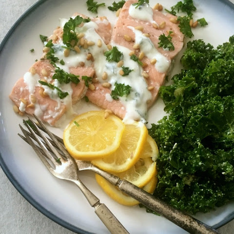Lemon Baked Salmon with Toasted Pine Nuts and Mint Yogurt Sauce