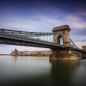 Chain Bridge (Széchenyi lánchíd) in Budapest  by Zoltan Duray - Buildings & Architecture Bridges & Suspended Structures ( water, hungary, budapest, pwc82, chain bridge, travel, danube, szechenyi lanchid, landmark, parliament, sky, bridge, town, magyarorszag, madarsko, river, garyfonglandscapes, holiday photo contest, photocontest, , long, exposure, daytime, edition, challenge )