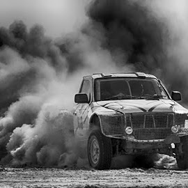 Tacomi by Abdul Rehman - Black & White Sports ( water, natural light, baluchista, sand, desert, dangerous, sun, beautiful light, rally, thrill, jhal magsi, pakistan, adventure, dust cloud, dangerous sport, dust, sun light )
