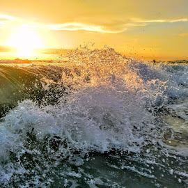 Breaking waves in the gulf at Sunset  by Jeffrey Lee - Landscapes Sunsets & Sunrises ( breaking waves in the gulf at sunset )
