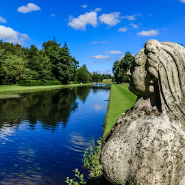 Overlooking the Gardens by Mandy Hedley - Landscapes Travel ( water, statue, gardens, reflections, ripon )