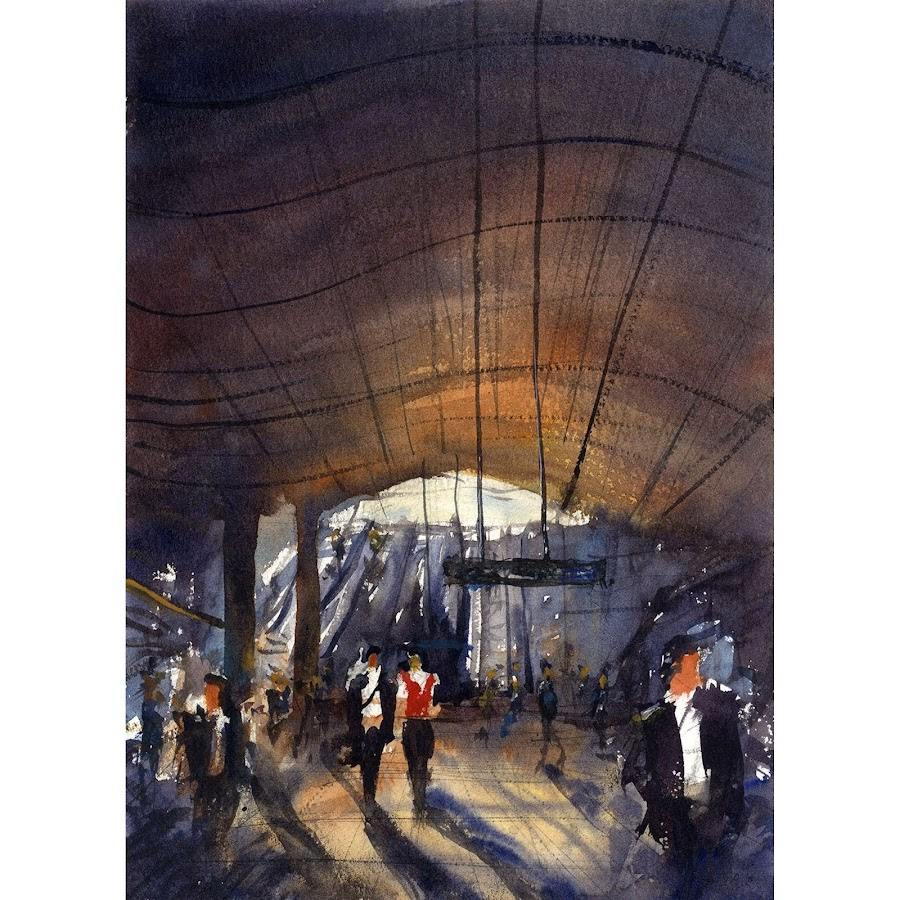 London Canary Wharf art watercolour original painting