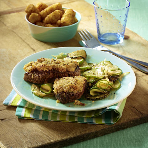 Mustard-Crusted Sirloin Steaks with Sautéed Zucchini