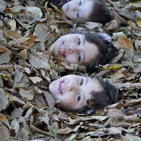 heads up by Debra Lynde - People Body Parts ( blond girl, children, brown hair girl, leaves, boy,  )