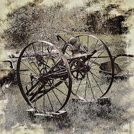 Antique Farm Implement by Tina Stevens - Artistic Objects Antiques ( farm, sepia, monochrome, metal, black and white, wheels, planter, plow, implement, steel, antique, iron )
