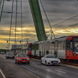 Shared Bridge by Marco Bertamé - Transportation Trains ( car, red, green, sinset, driving, train, diagonale, mooving, bridge )