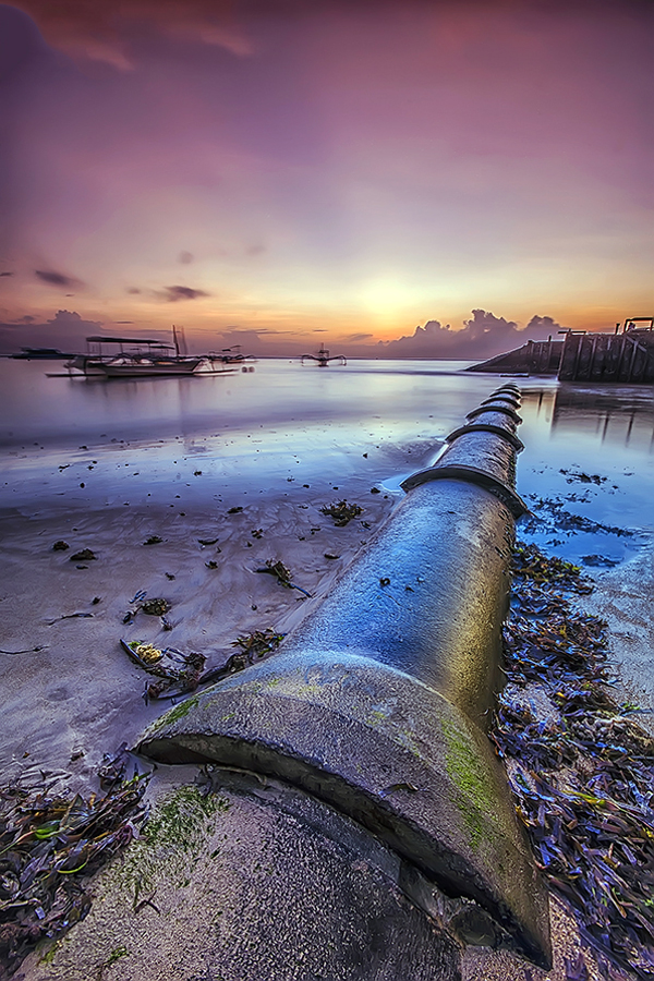 Old Pipe by Boim Wahyudi - Landscapes Waterscapes ( bali, waterscape, sunset, sanur, sunrise, beach, landscape )