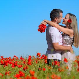 Couple  by Cvetka Zavernik - People Couples ( love, couple, woman, poppy, men, field flower )