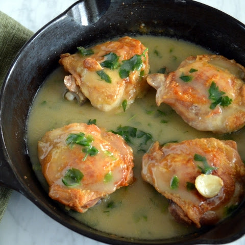 Skillet Roasted Chicken Thighs with Lemon Garlic Sauce (AIP)