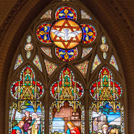 Stained Glass and Altar in the Church of the Redeemer by Roberto Machado Noa - Buildings & Architecture Places of Worship ( interior, halo, jesus christ, nativity, stained, religion, bethlehem, spiritual, baby jesus, stained glass window, liturgical calendar, light, stained glass, people of bible, church, christian art, art, religious symbols, joseph, new testament, window, jesus, holy family, christ, cathedral, bible, mary, religious, messiah, prayer, christian, gospel, christianity, colorful, chapel, bible story, glass, the arts, spirituality, liturgical feast, sacred art, religious art, faith, christmas, church window, catholicism, blue, biblical scene, color, savior )