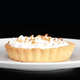 Lemon Meringue Pie with Black Cherries