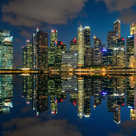 Singapore Financial District by Sam Song - City,  Street & Park  Skylines ( post office, reflection, skyline, financial district, blue hour, mbs, reflections, night, po, singapore,  )