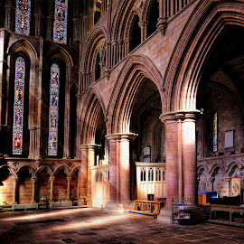 Sunshine Abbey by Phil Robson - Buildings & Architecture Places of Worship ( northumberland, church, hexham abbey, hexham, north east england, architecture )