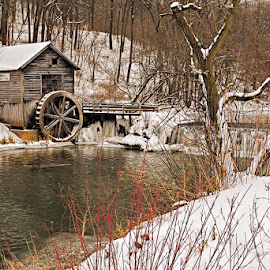 Hyde Mill by Ben Podolak - Buildings & Architecture Other Exteriors ( hyde, mill, stream, snow, dam, waterwheel )