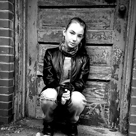 Paige by Sandy Considine - Black & White Portraits & People ( young girl, leather jacket, black and white )